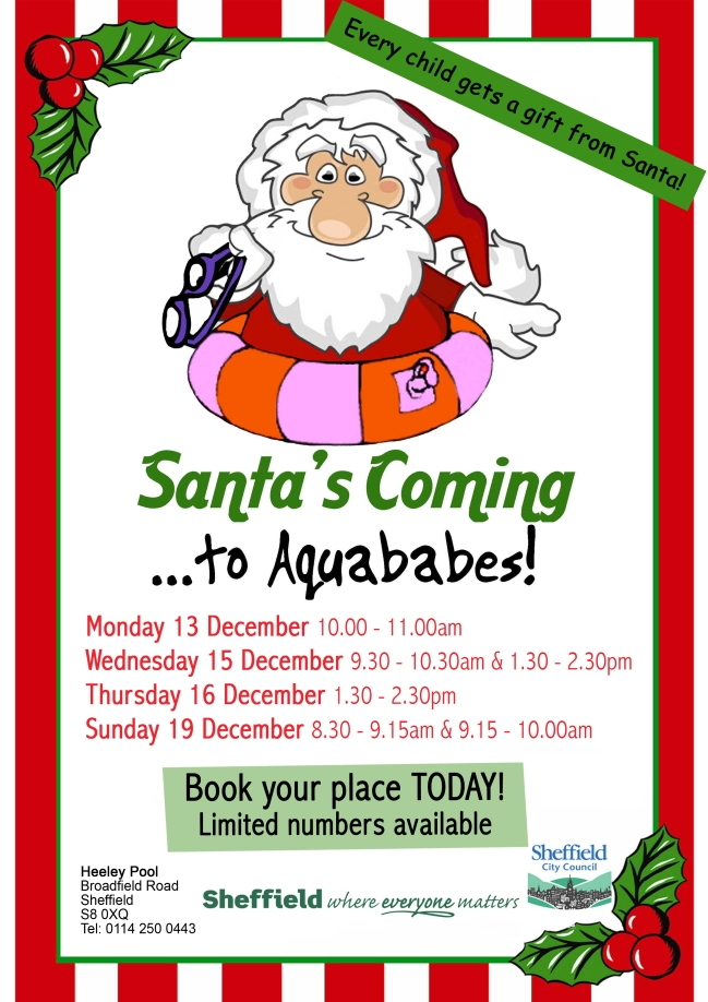 Poster for Santa's visits to Heeley Pool's Aquababes sessions