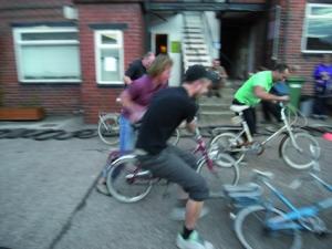 Start of Shopping Bike Race