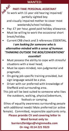 Job ad for Personal Assistant