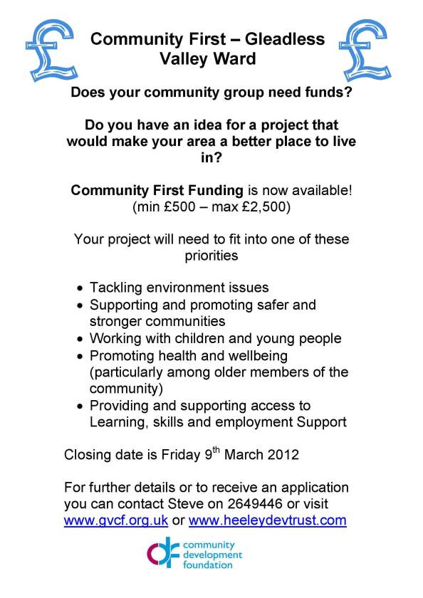 Community First Funding Gleadlless VAlley Ward